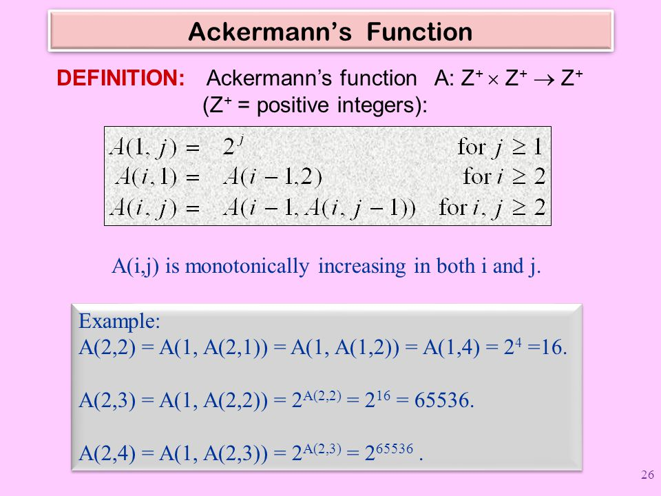 Ackermann's Function DEFINITION: Ackermann's function A: Z +  Z +  Z + (Z + = positive integers): Example: A(2,2) = A(1, A(2,1)) = A(1, A(1,2)) = A(