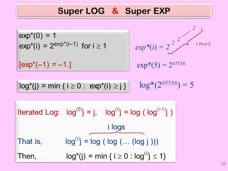 Super LOG & Super EXP exp*(0) = 1 exp*(i) = 2 exp*(i–1) for i  1 [exp*(–1) = –1.] exp*(0) = 1 exp*(i) = 2 exp*(i–1) for i  1 [exp*(–1) = –1.] log*(j) = min { i  0 : exp*(i)  j } exp*(i) = 2 2 2 2 i two's exp*(5) = 2 65536 log*(2 65536 ) = 5 Iterated Log: log (0) j = j, log (i) j = log ( log (i-1) j ) i logs That is, log (i) j = log ( log (… (log j ))) Then, log*(j) = min { i  0 : log (i) j  1} Iterated Log: log (0) j = j, log (i) j = log ( log (i-1) j ) i logs That is, log (i) j = log ( log (… (log j ))) Then, log*(j) = min { i  0 : log (i) j  1} 30