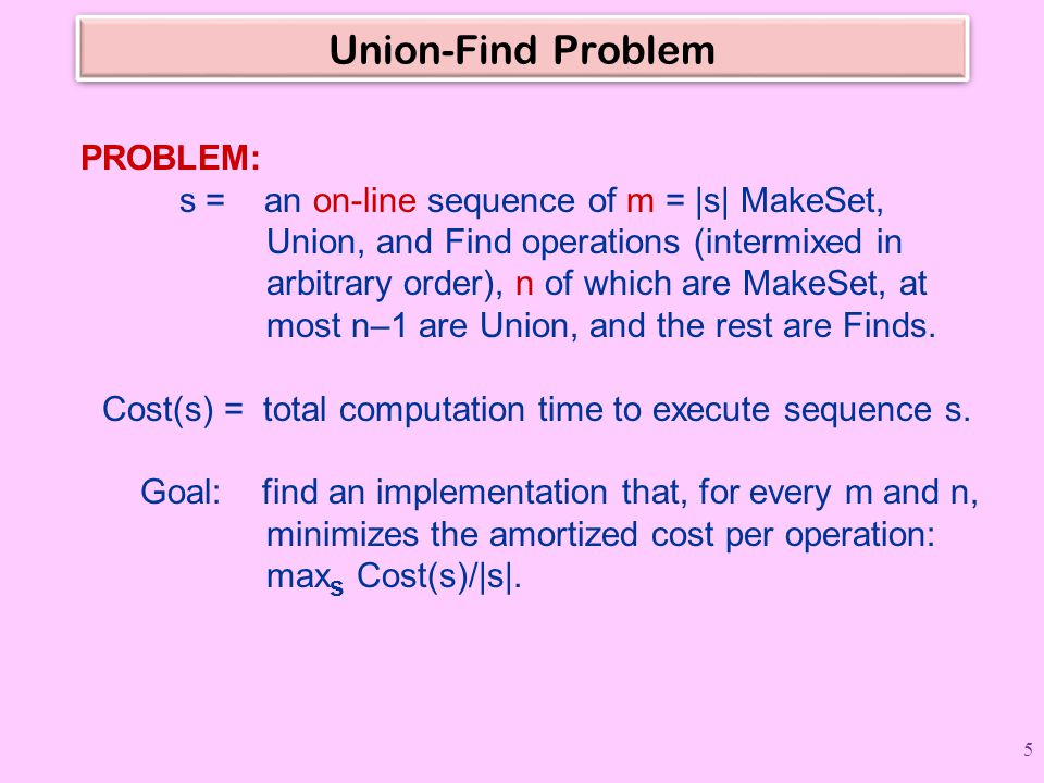 Union-Find Problem PROBLEM: s = an on-line sequence of m = |s| MakeSet, Union, and Find operations (intermixed in arbitrary order), n of which are Mak