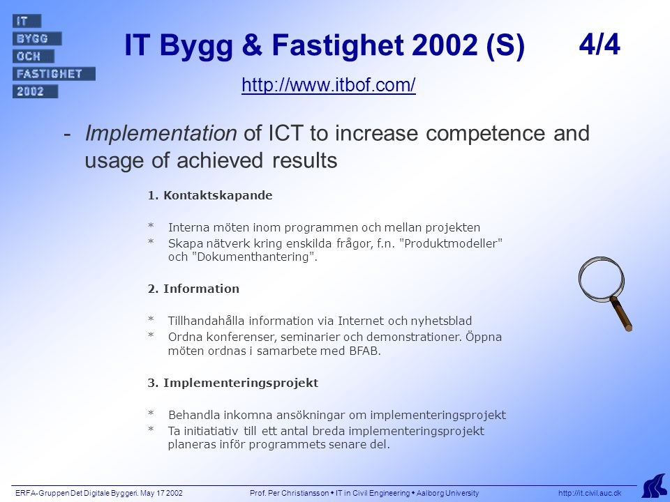 ERFA-Gruppen Det Digitale Byggeri. May 17 2002 Prof.