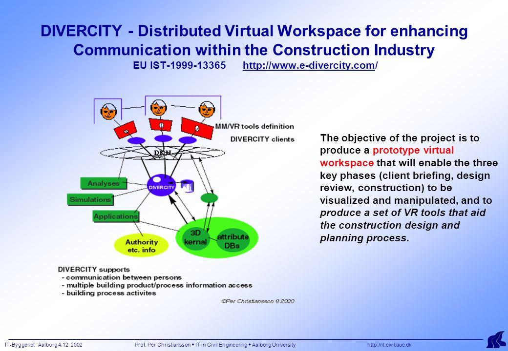 IT-Byggenet Aalborg 4.12. 2002 Prof. Per Christiansson  IT in Civil Engineering  Aalborg University http://it.civil.auc.dk DIVERCITY - Distributed V