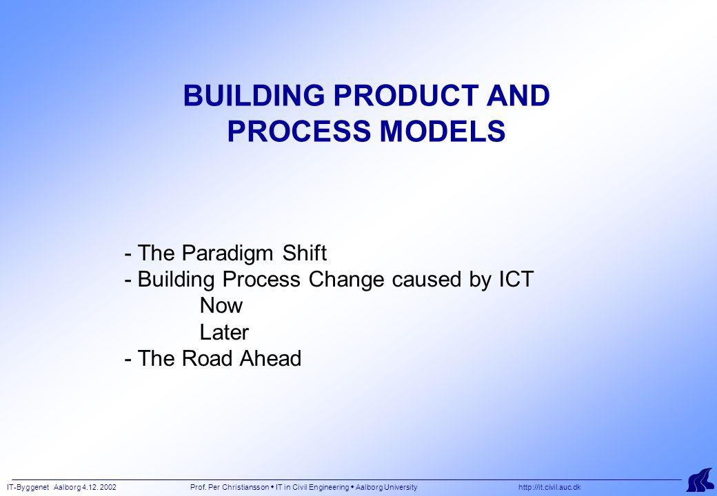 IT-Byggenet Aalborg 4.12. 2002 Prof. Per Christiansson  IT in Civil Engineering  Aalborg University http://it.civil.auc.dk BUILDING PRODUCT AND PROC
