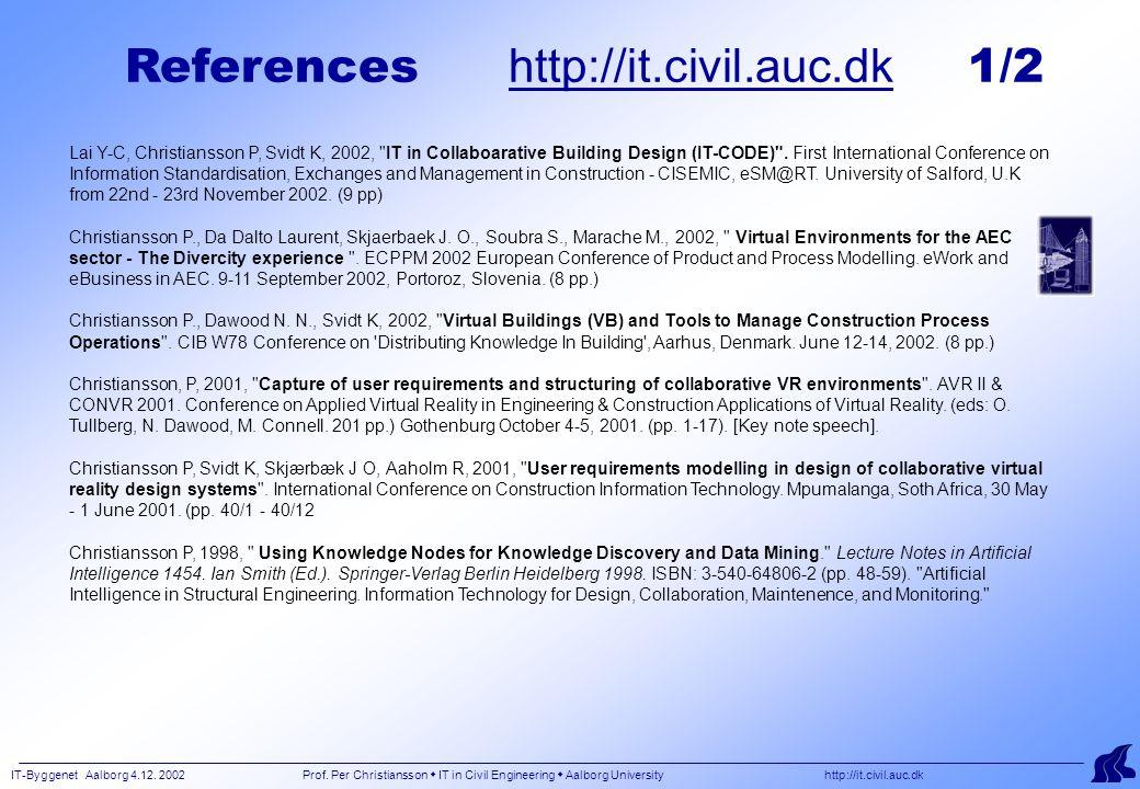 IT-Byggenet Aalborg 4.12. 2002 Prof. Per Christiansson  IT in Civil Engineering  Aalborg University http://it.civil.auc.dk Lai Y-C, Christiansson P,