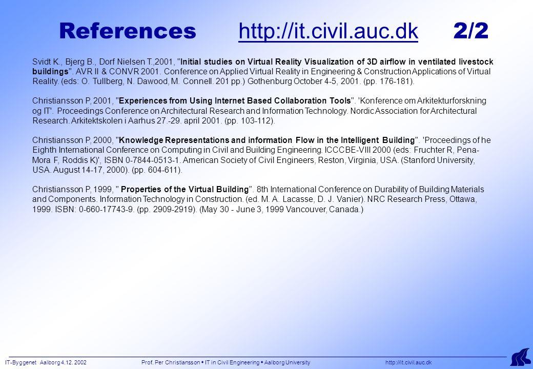 IT-Byggenet Aalborg 4.12. 2002 Prof. Per Christiansson  IT in Civil Engineering  Aalborg University http://it.civil.auc.dk References http://it.civi