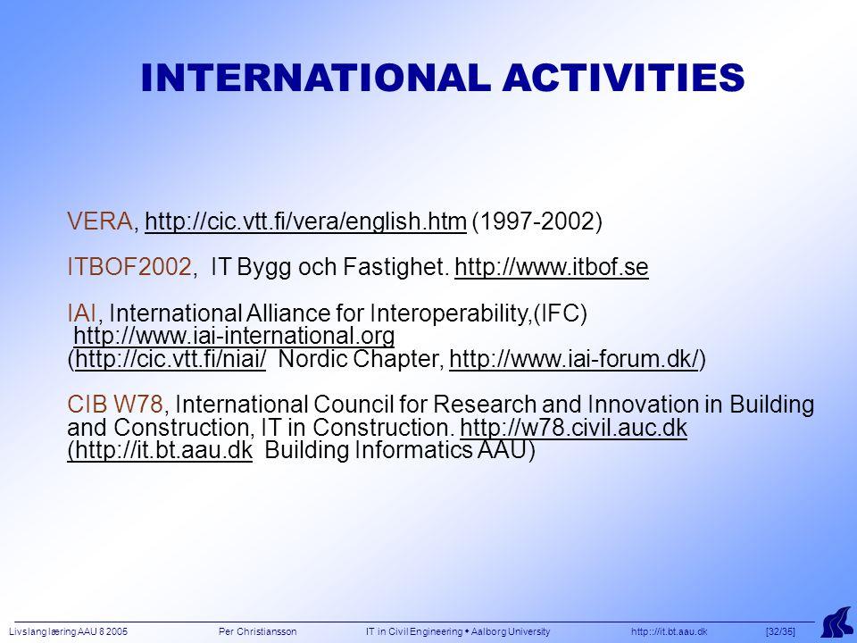 Livslang læring AAU 8 2005 Per Christiansson IT in Civil Engineering  Aalborg University http:://it.bt.aau.dk [32/35] VERA, http://cic.vtt.fi/vera/english.htm (1997-2002) ITBOF2002, IT Bygg och Fastighet.