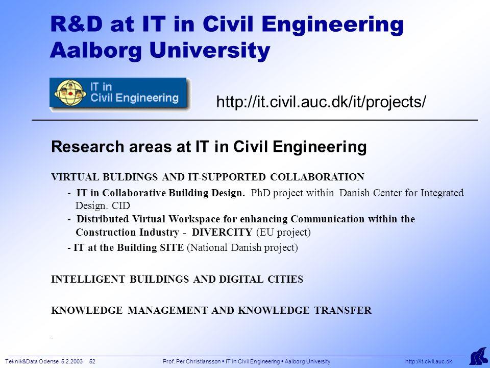 Teknik&Data Odense 5.2.2003 52 Prof.