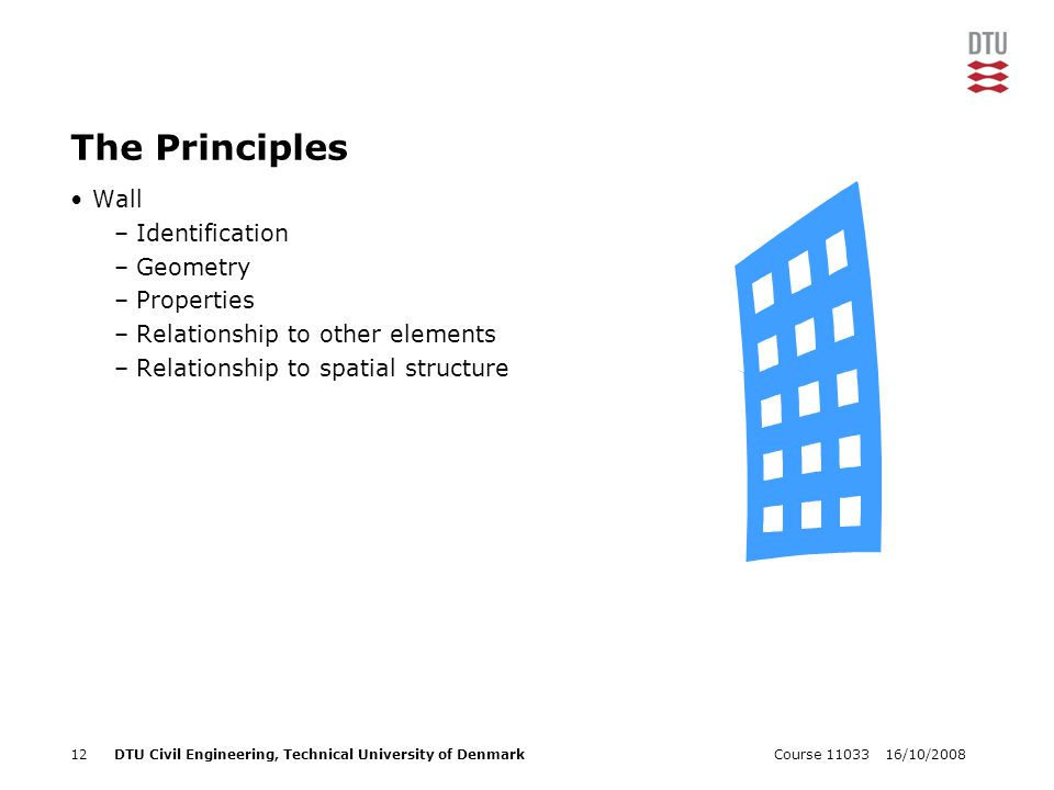 16/10/2008Course 1103312DTU Civil Engineering, Technical University of Denmark The Principles Wall –Identification –Geometry –Properties –Relationship