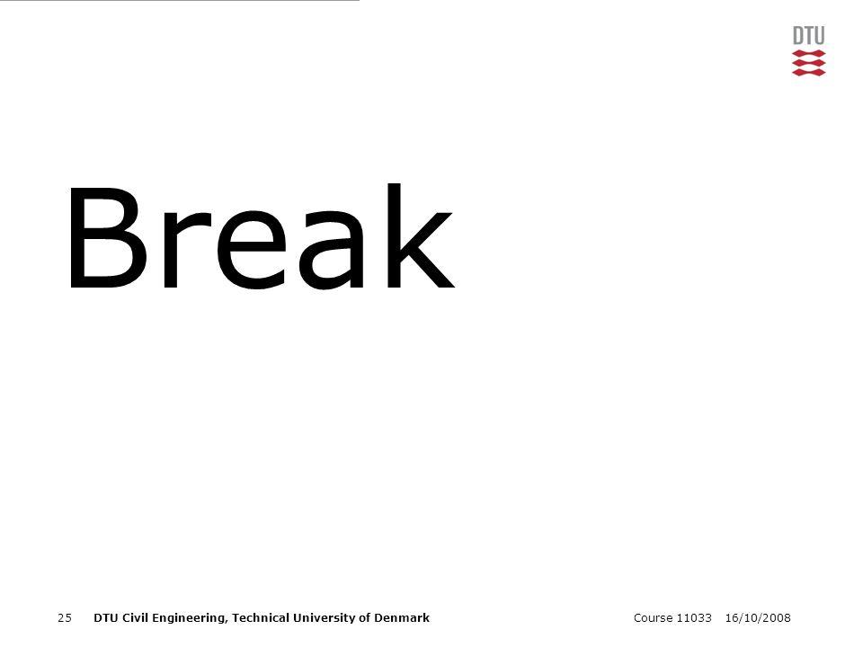 16/10/2008Course 1103325DTU Civil Engineering, Technical University of Denmark Break