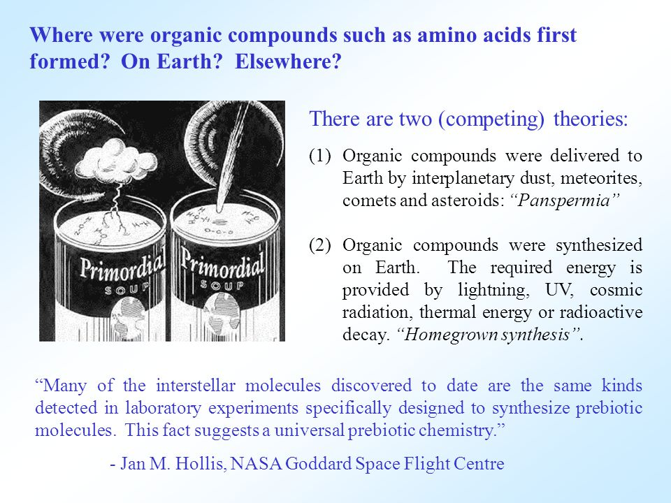 Where were organic compounds such as amino acids first formed.