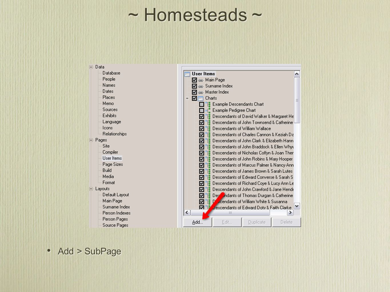 ~ Homesteads ~ Add > SubPage