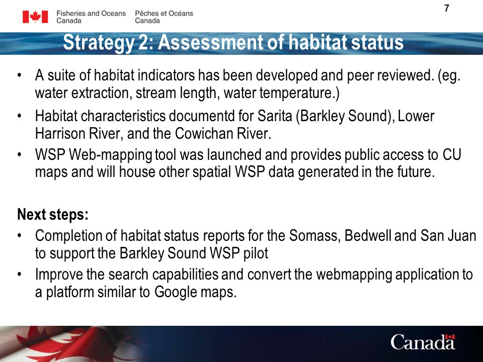 7 A suite of habitat indicators has been developed and peer reviewed.