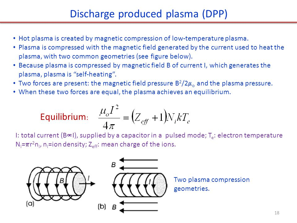 Discharge produced plasma (DPP) Hot plasma is created by magnetic compression of low-temperature plasma. Plasma is compressed with the magnetic field