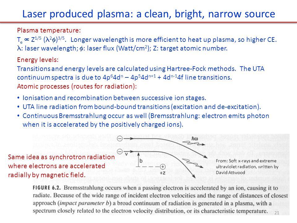 Laser produced plasma: a clean, bright, narrow source Plasma temperature: T e  Z 1/5 ( 2  ) 3/5. Longer wavelength is more efficient to heat up plas