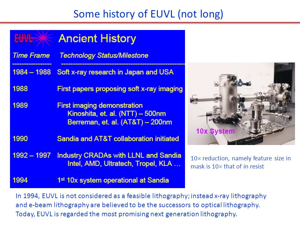 Contamination and damage to EUV optics Debris with low velocity will deposit to the mirrors, causing contamination.
