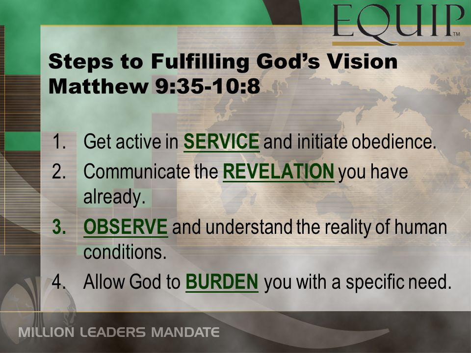 5.Seek divine diagnosis: What is the ISSUE TO BE RESOLVED .