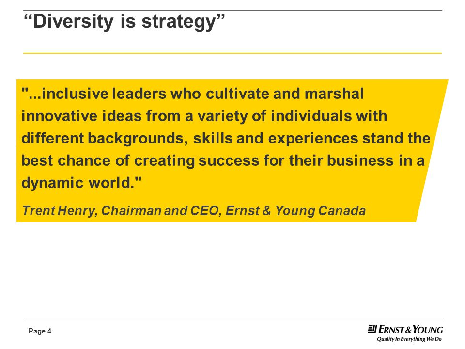 Page 15 2010 – global diversity & inclusiveness Embedding a sustainable, inclusive culture in the way we operate will enable our people to achieve their potential and make a difference, wherever they come from and whatever their characteristics. A sustainable, inclusive culture will better enable Ernst & Young to deliver high-quality service to our clients, create competitive advantage and drive market leadership.