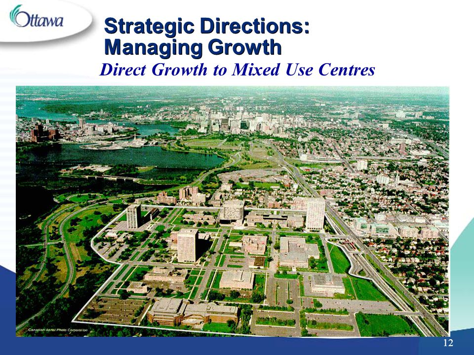 12 Strategic Directions: Managing Growth Direct Growth to Mixed Use Centres