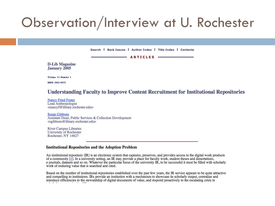 Observation/Interview at U. Rochester