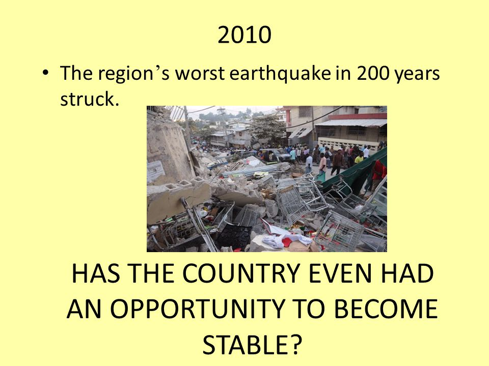 2010 The region ' s worst earthquake in 200 years struck.