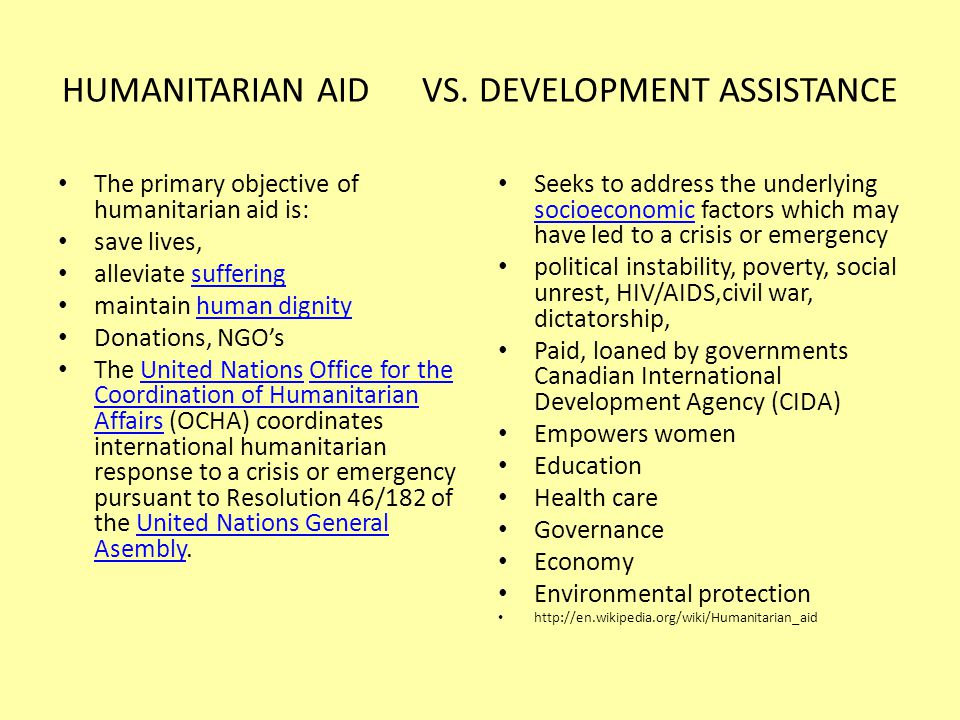 HUMANITARIAN AID VS.