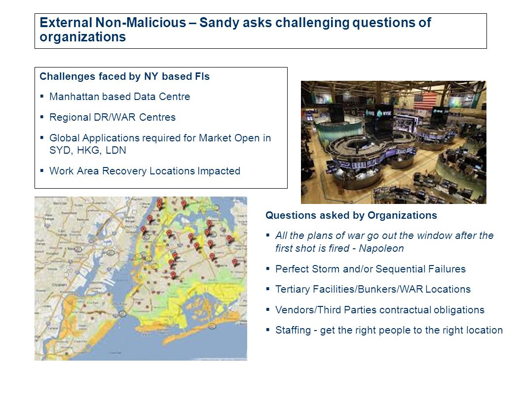 External Non-Malicious – Sandy asks challenging questions of organizations Challenges faced by NY based FIs  Manhattan based Data Centre  Regional DR/WAR Centres  Global Applications required for Market Open in SYD, HKG, LDN  Work Area Recovery Locations Impacted Questions asked by Organizations  All the plans of war go out the window after the first shot is fired - Napoleon  Perfect Storm and/or Sequential Failures  Tertiary Facilities/Bunkers/WAR Locations  Vendors/Third Parties contractual obligations  Staffing - get the right people to the right location
