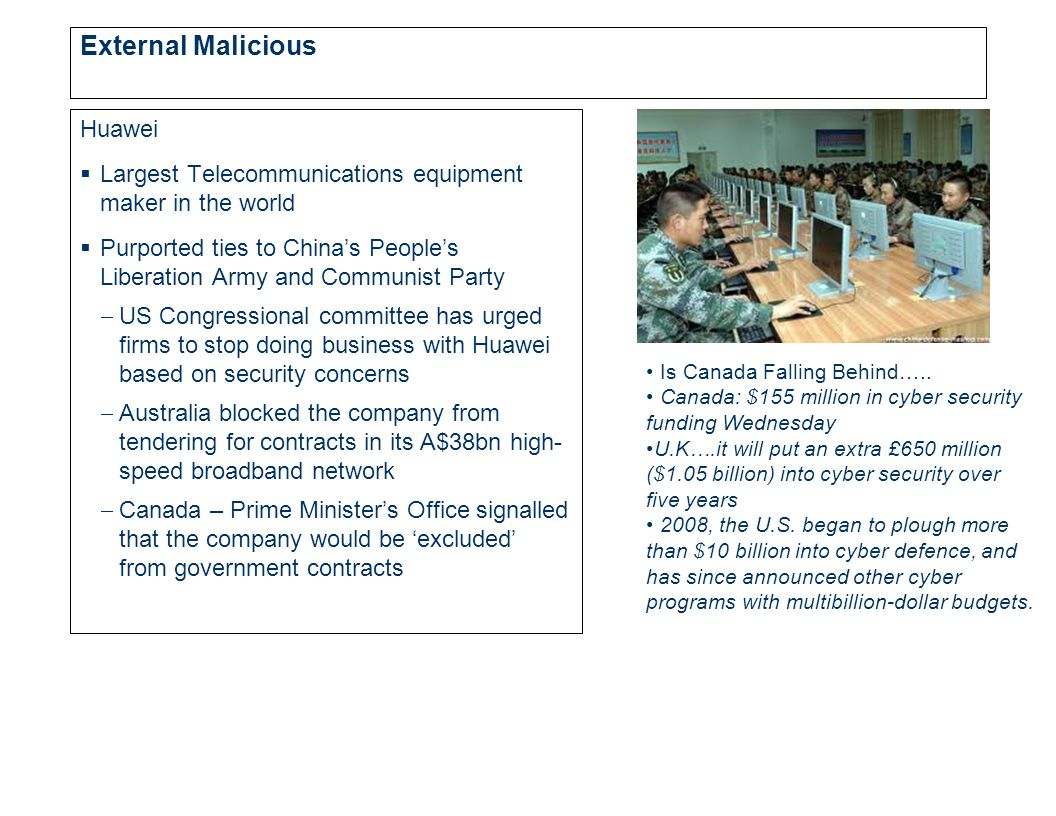 External Malicious Huawei  Largest Telecommunications equipment maker in the world  Purported ties to China's People's Liberation Army and Communist Party  US Congressional committee has urged firms to stop doing business with Huawei based on security concerns  Australia blocked the company from tendering for contracts in its A$38bn high- speed broadband network  Canada – Prime Minister's Office signalled that the company would be 'excluded' from government contracts Is Canada Falling Behind…..