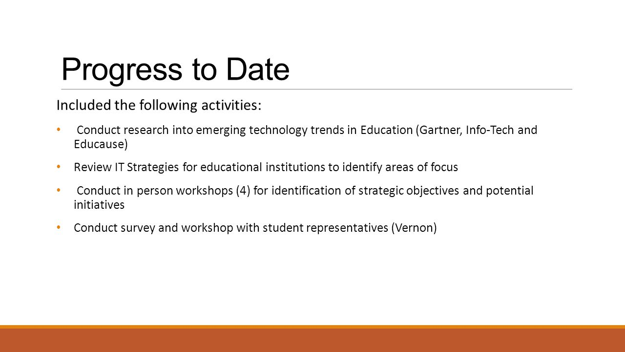 Progress to Date Included the following activities: Conduct research into emerging technology trends in Education (Gartner, Info-Tech and Educause) Re
