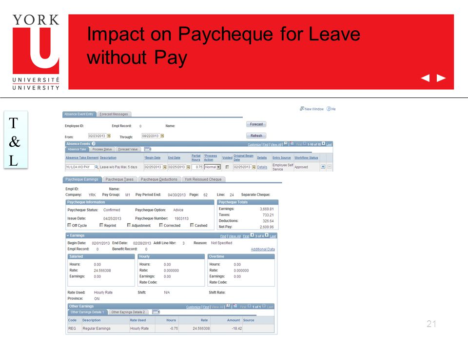 21 T&LT&L T&LT&L Impact on Paycheque for Leave without Pay