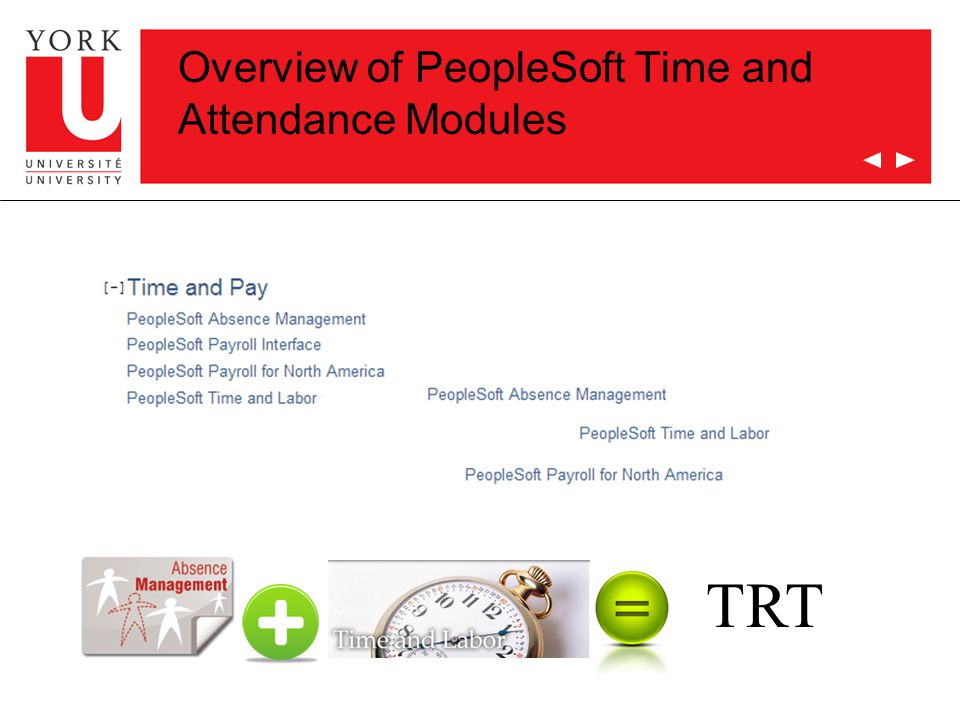 Overview of PeopleSoft Time and Attendance Modules TRT