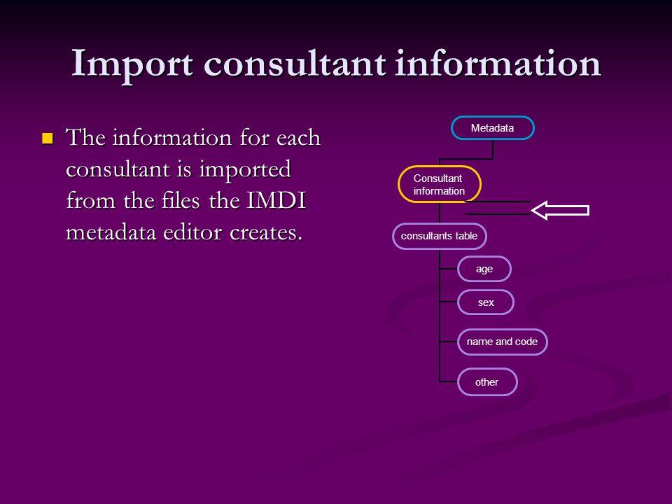 Import consultant information The information for each consultant is imported from the files the IMDI metadata editor creates. The information for eac