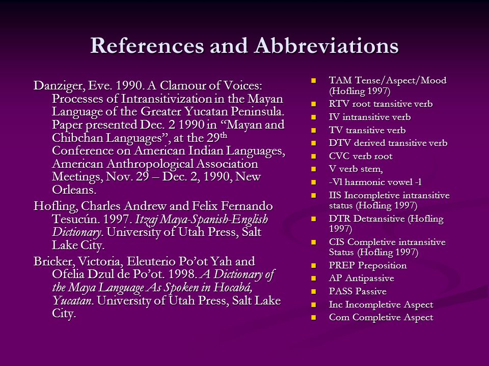 References and Abbreviations Danziger, Eve
