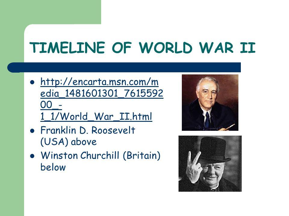 TIMELINE OF WORLD WAR II http://encarta.msn.com/m edia_1481601301_7615592 00_- 1_1/World_War_II.html http://encarta.msn.com/m edia_1481601301_7615592 00_- 1_1/World_War_II.html Franklin D.