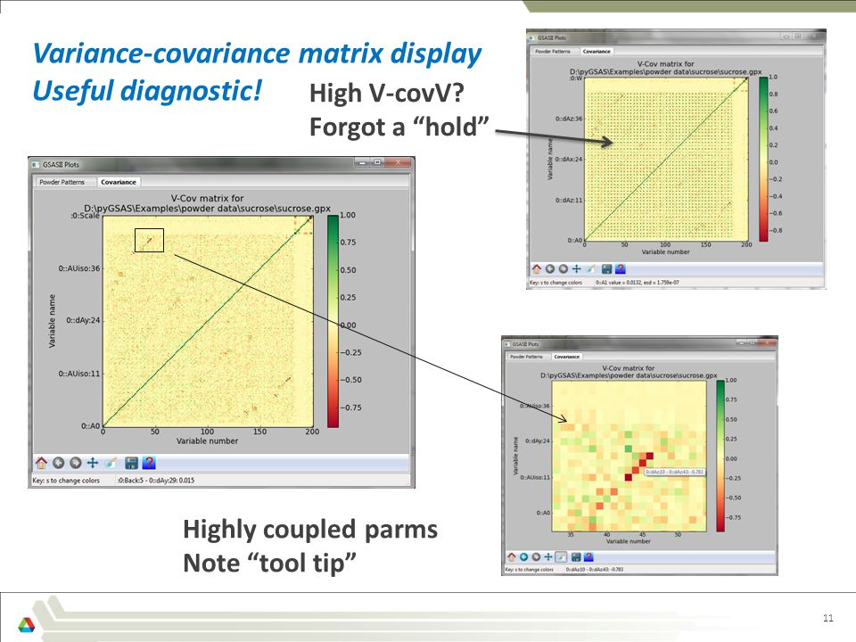 11 Variance-covariance matrix display Useful diagnostic.