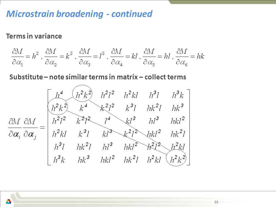 35 Microstrain broadening - continued Terms in variance Substitute – note similar terms in matrix – collect terms