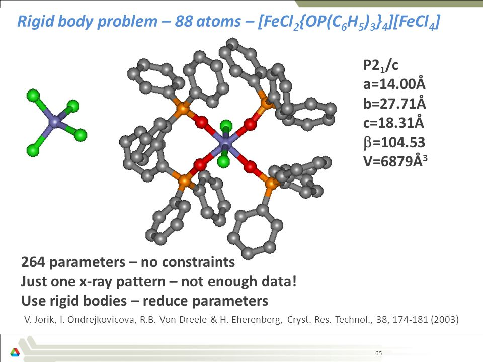 65 Rigid body problem – 88 atoms – [FeCl 2 {OP(C 6 H 5 ) 3 } 4 ][FeCl 4 ] 264 parameters – no constraints Just one x-ray pattern – not enough data.