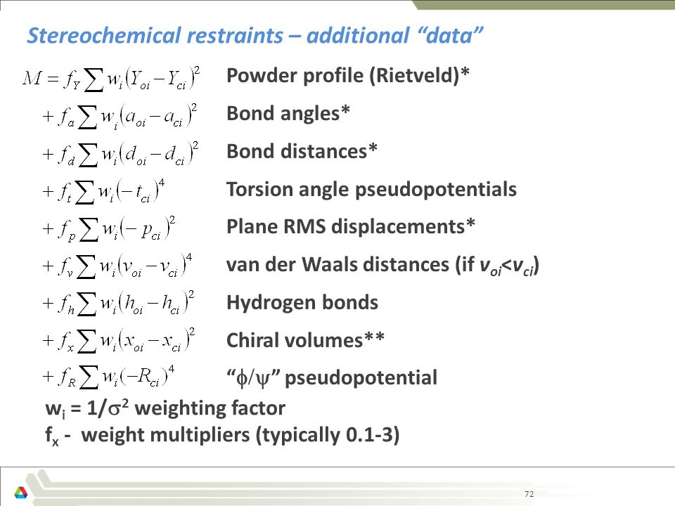 72 Stereochemical restraints – additional data Powder profile (Rietveld)* Bond angles* Bond distances* Torsion angle pseudopotentials Plane RMS displacements* van der Waals distances (if v oi <v ci ) Hydrogen bonds Chiral volumes**  pseudopotential w i = 1/  2 weighting factor f x - weight multipliers (typically 0.1-3)