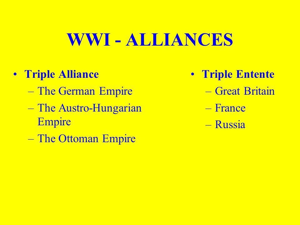 WWI - ALLIANCES Triple Alliance –The German Empire –The Austro-Hungarian Empire –The Ottoman Empire Triple Entente –Great Britain –France –Russia