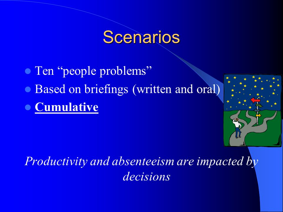 "Scenarios Ten ""people problems"" Based on briefings (written and oral) Cumulative Productivity and absenteeism are impacted by decisions"
