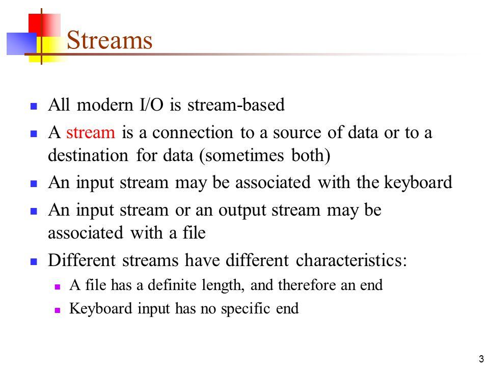 4 How to do I/O import java.io.*; Open the stream Use the stream (read, write, or both) Close the stream