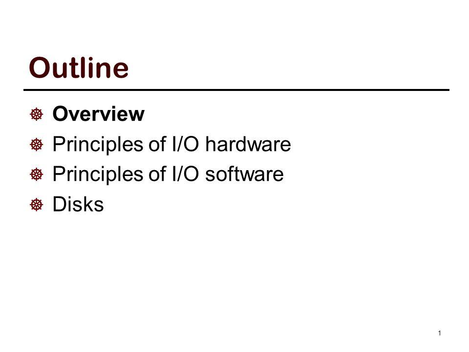 Outline  Overview  Principles of I/O hardware  Principles of I/O software  Disks 1
