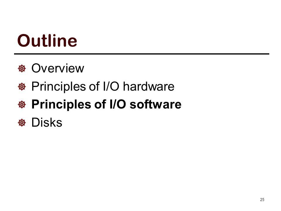 Outline  Overview  Principles of I/O hardware  Principles of I/O software  Disks 25