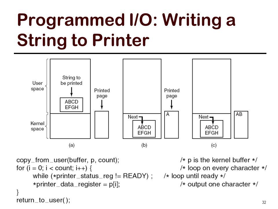 Programmed I/O: Writing a String to Printer © Zonghua Gu, CMPT 300, Fall 2011 32