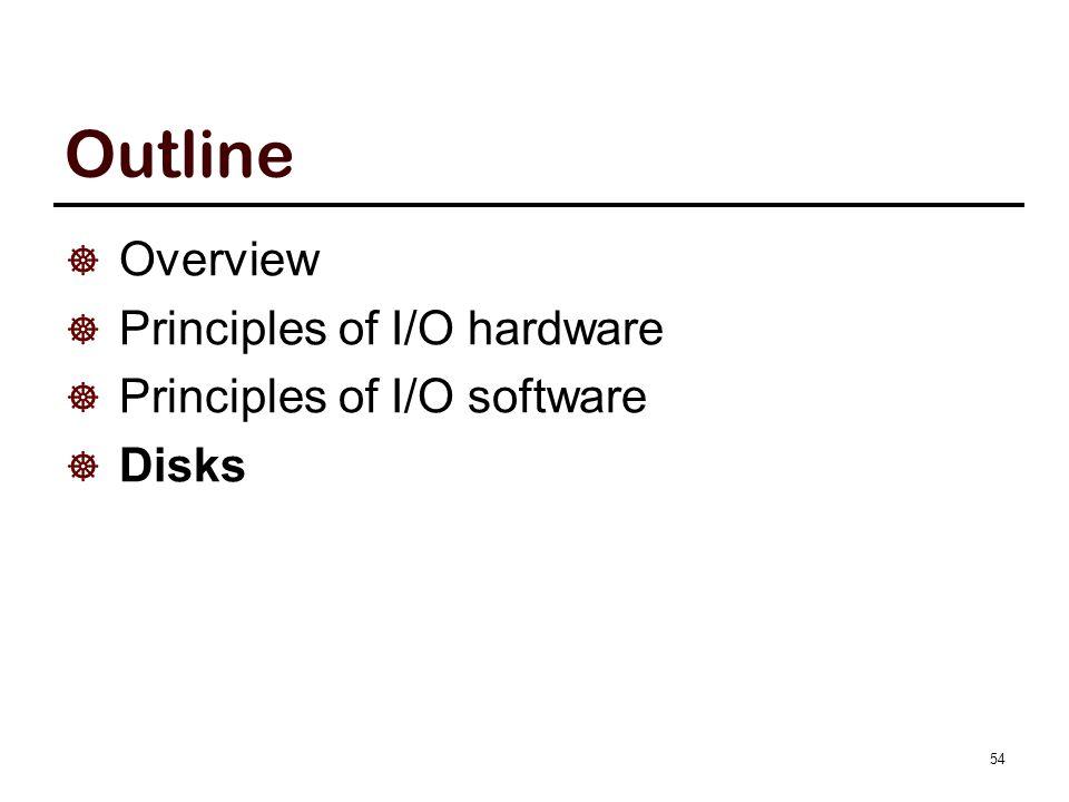 Outline  Overview  Principles of I/O hardware  Principles of I/O software  Disks 54
