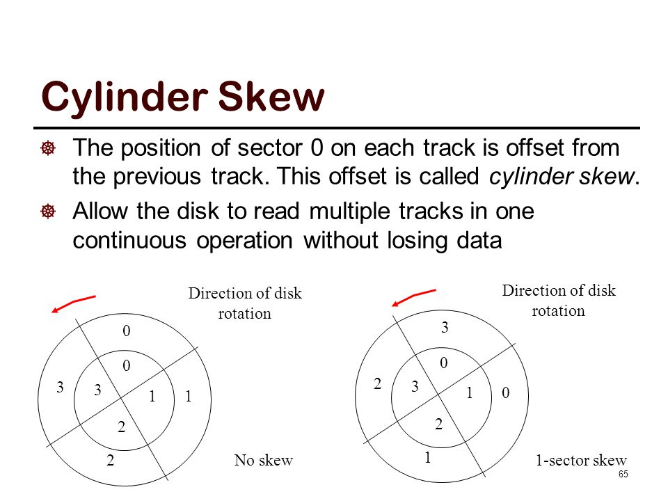 Cylinder Skew  The position of sector 0 on each track is offset from the previous track. This offset is called cylinder skew.  Allow the disk to rea