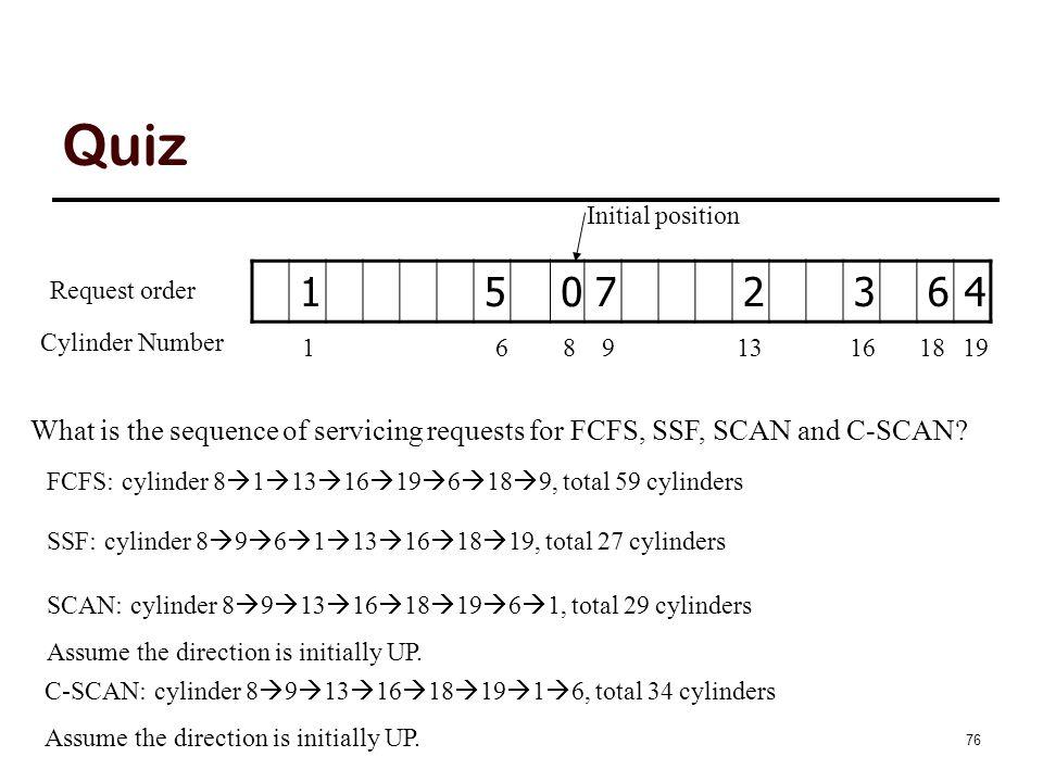 Quiz 15072364 Request order Cylinder Number 1691319 Initial position 81618 FCFS: cylinder 8  1  13  16  19  6  18  9, total 59 cylinders SSF: c