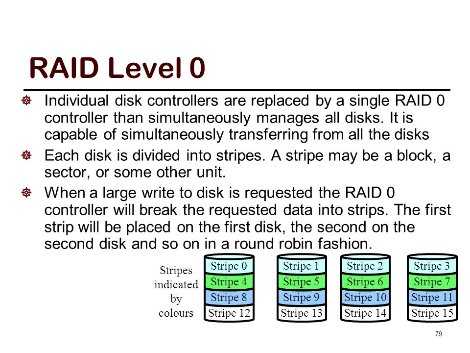 79 RAID Level 0  Individual disk controllers are replaced by a single RAID 0 controller than simultaneously manages all disks. It is capable of simul