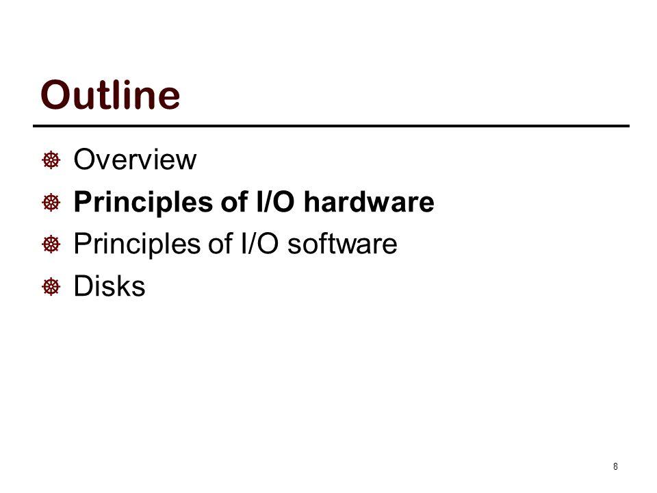 Outline  Overview  Principles of I/O hardware  Principles of I/O software  Disks 8