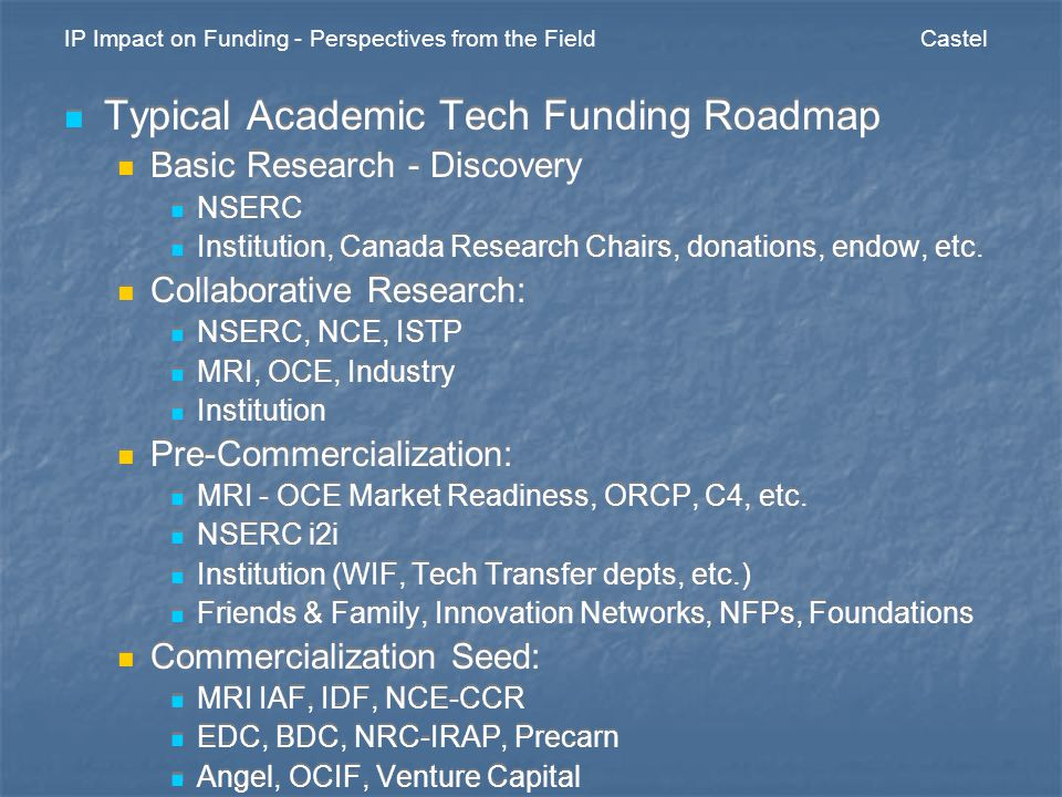 IP Impact on Funding - Perspectives from the Field Castel Typical Patent Roadmap (Commercialization Stages) Provisional Customer discovery Engage potential channel partners and investors Minimize cash burn PCT Buys time for learning and discovery through customer engagement while technology and commercialization plans are validated and mature Minimize cash burn Utility Ready for Round A financing Customer development and product launch Maintenance Company building Typical Patent Roadmap (Commercialization Stages) Provisional Customer discovery Engage potential channel partners and investors Minimize cash burn PCT Buys time for learning and discovery through customer engagement while technology and commercialization plans are validated and mature Minimize cash burn Utility Ready for Round A financing Customer development and product launch Maintenance Company building