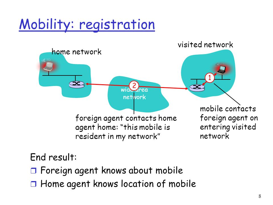 8 Mobility: registration End result: r Foreign agent knows about mobile r Home agent knows location of mobile wide area network home network visited network 1 mobile contacts foreign agent on entering visited network 2 foreign agent contacts home agent home: this mobile is resident in my network