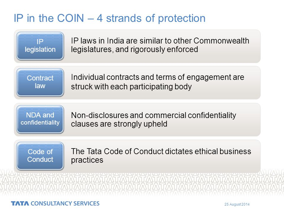 25 August 2014 IP in the COIN – 4 strands of protection IP laws in India are similar to other Commonwealth legislatures, and rigorously enforced IP legislation Individual contracts and terms of engagement are struck with each participating body Contract law Non-disclosures and commercial confidentiality clauses are strongly upheld NDA and confidentiality The Tata Code of Conduct dictates ethical business practices Code of Conduct